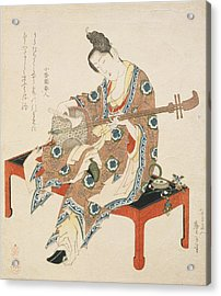 Chinese Beauty Playing The Shamisen Acrylic Print by Katsushika II Taito