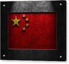 Acrylic Print featuring the digital art Chinese Flag Stone Texture by Brian Carson