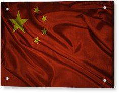 Chinese Flag Waving On Canvas Acrylic Print by Eti Reid