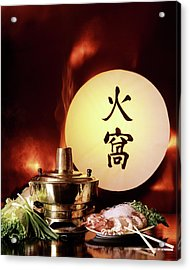 Chinese Food Against A Backgroup Of Flames Acrylic Print