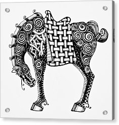Chinese Horse - Zentangle Acrylic Print