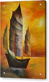 Acrylic Print featuring the painting Chinese Junk In Ochre by Tracey Harrington-Simpson