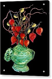 Chinese Lanterns On Black Acrylic Print by Rae Chichilnitsky