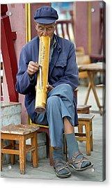 Chinese Man Smoking A Water Pipe. Acrylic Print by Tony Camacho