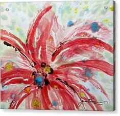 Acrylic Print featuring the painting Chinese Red Flower by Joan Reese