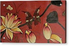 Chinese Red Lacquer Chest Detail Acrylic Print