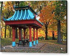Chinese Shelter In Autumn Acrylic Print by Scott Rackers