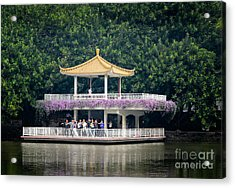 Chinese Style Pavillion In A Peaceful Park.  Acrylic Print