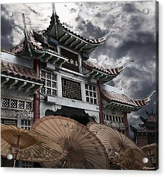 Chinese Temple Gate Acrylic Print by Larry Butterworth