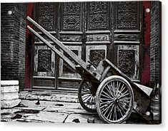 Chinese Wagon In Black And White Xi'an China Acrylic Print by Sally Ross