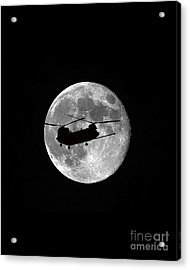 Chinook Moon B And W Vertical Acrylic Print