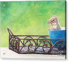 Chipmunk In Blue Bowl Acrylic Print by Charlotte Yealey