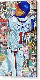 Chipper Jones 14 Acrylic Print by Michael Lee