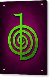 Cho Ku Rei - Lime Green On Purple Reiki Usui Symbol Acrylic Print by Cristina-Velina Ion