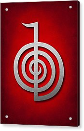 Cho Ku Rei - Silver On Red Reiki Usui Symbol Acrylic Print by Cristina-Velina Ion
