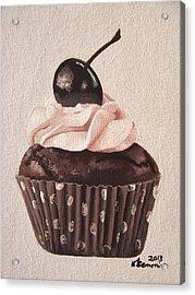 Chocolate Cherry Cupcake Acrylic Print by Kayleigh Semeniuk