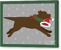 Chocolate Labrador Steals Santa's Hat Acrylic Print