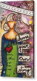 Choose Your Own Story Inspirational Mixed Media Folk Art  Acrylic Print