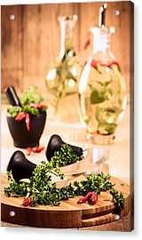 Chopping Herbs Acrylic Print by Amanda Elwell