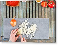 Chopping Onions Acrylic Print by Tom Gowanlock