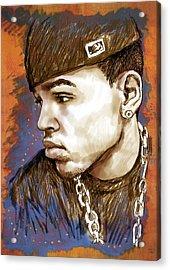 Chris Brown  - Stylised Drawing Art Poster Acrylic Print