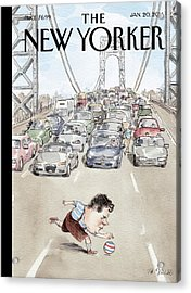 Chris Christie Plays With A Ball On The George Acrylic Print by Barry Blitt
