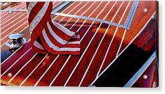Acrylic Print featuring the photograph Chris Craft With American Flag by Michelle Calkins