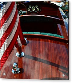 Chris Craft With Flag And Steering Wheel Acrylic Print