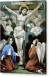 Christ And The Angels Circa 1856 Acrylic Print by Aged Pixel