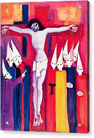 Christ And The Politicians, 2000 Acrylic On Canvas Acrylic Print by Laila Shawa