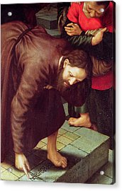 Christ And The Woman Taken In Adultery Oil On Panel Detail Of 231478 Acrylic Print by Jan Sanders van Hemessen