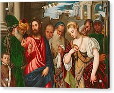 Christ And The Woman Taken In Adultery Acrylic Print by Veronese