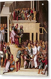 Christ Before Pilate, C.1530 Acrylic Print by Lodovico Mazzolino