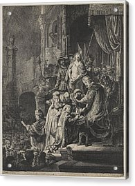 Christ Before Pilate Acrylic Print by Rembrandt