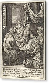 Christ Child Sleeps In The Crib, Hieronymus Wierix Acrylic Print by Hieronymus Wierix