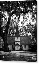 Christ Church Frederica In Black And White Acrylic Print
