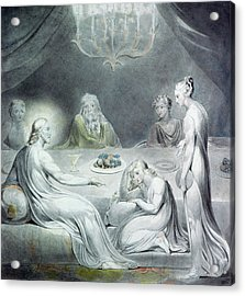 Christ In The House Of Martha And Mary Or The Penitent Magdalene Acrylic Print by William Blake