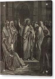 Christ In The Synagogue Acrylic Print by Antique Engravings