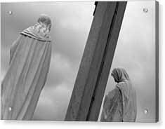 Christ On The Cross With Mourners Evansville Indiana 2008 Acrylic Print by John Hanou