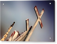 Christ On The Cross With Mourners St. Joseph Cemetery Evansville Indiana 2006 Acrylic Print by John Hanou