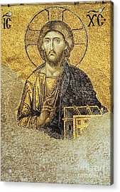 Christ Pantocrator-detail Of Deesis Mosaic Hagia Sophia-judgement Day Acrylic Print by Urft Valley Art
