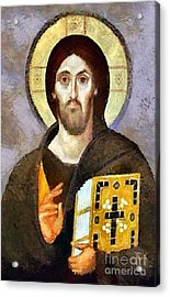 Christ Pantocrator Of Sinai Acrylic Print by Dragica  Micki Fortuna