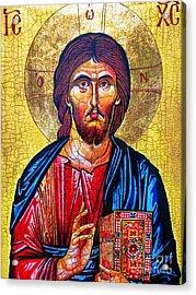 Christ The Pantocrator Icon Acrylic Print by Ryszard Sleczka