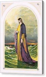 Christ Walking On The Sea Acrylic Print by English School