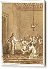 Christ Warns St. Peter In The Upper Room Acrylic Print by Celestial Images