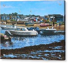 Christchurch Hengistbury Head Beach With Boats Acrylic Print by Martin Davey