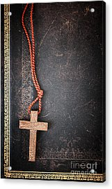 Christian Cross On Bible Acrylic Print