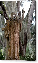 Christian Statue With Finger Pointing Toward Heaven Acrylic Print