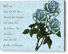 Christian Wedding Invitation With Roses Acrylic Print by Joyce Geleynse