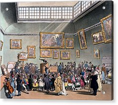 Christies Auction Room, Illustration Acrylic Print by T. & Pugin, A.C. Rowlandson